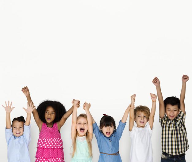 Little Children Hands Up Happy